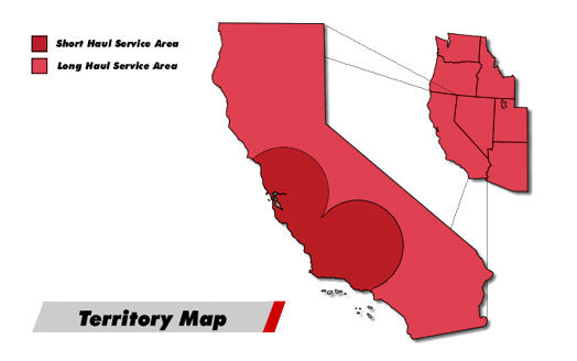 Red Line Logistics | California Territory map